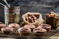 Chocolate muffin on cooling rack Royalty Free Stock Image