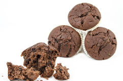 Chocolate muffin with crumbs Stock Photography