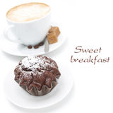 Chocolate muffin and cup of cappuccino with brown sugar isolated Royalty Free Stock Image