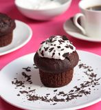 Chocolate Muffin and a Cup of Tea Stock Images