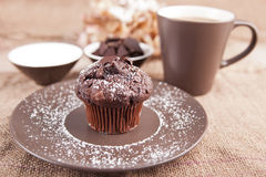 Chocolate muffin with cup of tea Royalty Free Stock Photos