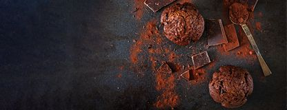 Chocolate muffin on dark background. Top view. Banner. Flat lay royalty free stock photos