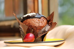Chocolate muffin. Delicious chocolate muffin on a plate Stock Images