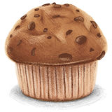 Chocolate Muffin. Digital drawn chocolate Muffin, isolated on white Background vector illustration