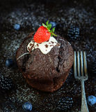 Chocolate Muffin. With Fresh Berries Royalty Free Stock Photo