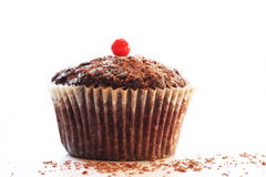 Chocolate muffin with fruit Royalty Free Stock Image