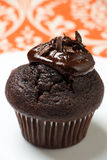 Chocolate muffin with melted chocolate Stock Photos