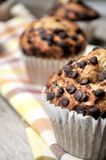 Chocolate muffin on napkin of table kitchen Royalty Free Stock Photo