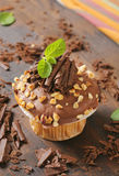 Chocolate muffin with nuts stock photo