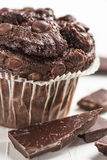 Chocolate muffin. One chocolate muffin and chocolate pieces Stock Images