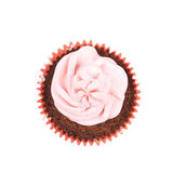 Chocolate muffin with pink cream isolated Royalty Free Stock Photo