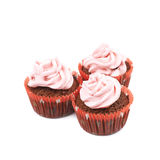Chocolate muffin with pink cream isolated Stock Image