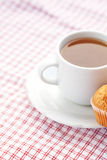 Chocolate and muffin on plaid fabric Stock Photography
