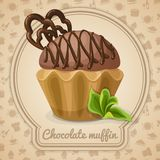 Chocolate muffin poster Stock Photo