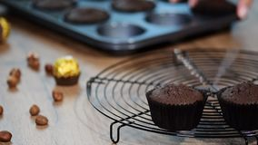 Chocolate muffin. Putting freshly baked chocolate muffins on the grill.  stock footage