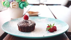 Chocolate muffin with raspberries on a blue plate