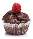 Chocolate muffin with raspberry isolated. Over white Stock Image