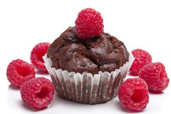 Chocolate muffin with raspberry isolated. Over white Stock Photography