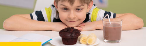Chocolate muffin for school lunch Royalty Free Stock Photo