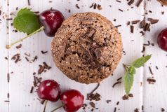 Chocolate muffin with sugar crust royalty free stock images