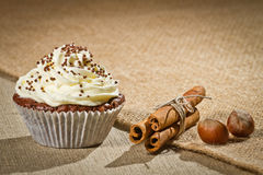 Chocolate muffin with vanilla cream, cinnamon Royalty Free Stock Photography