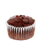 A chocolate muffin on white Stock Photos