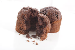 Chocolate muffin on white background Stock Photos