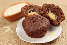 Chocolate muffin with white fudge Stock Image