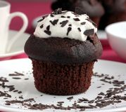 Chocolate Muffin With Cream Royalty Free Stock Image