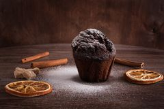 Chocolate muffin on a wooden dark table with tinting. Chocolate cake with sugar powder and dried oranges. royalty free stock images