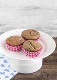 Chocolate muffins. On the white plate stock photography