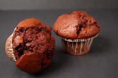 Chocolate Muffins. This is an image of two chocolate muffins. (Please let me know where the image will be used by leaving a message in the Comments Section/See stock photo