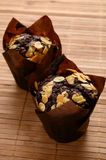 Chocolate muffins with almonds Stock Photo