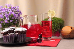 Chocolate muffins and berry drink Stock Photos