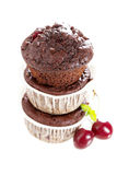 Chocolate muffins with cherry Stock Images