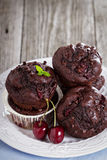 Chocolate muffins with cherry Royalty Free Stock Images