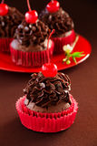 Chocolate muffins with cherry Royalty Free Stock Photography