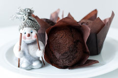 Chocolate muffins for christmas Stock Photos