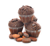 Chocolate muffins and cocoa beans Royalty Free Stock Images