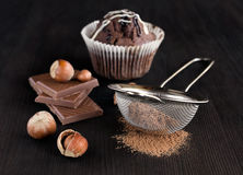 Chocolate muffins with cocoa , chocolate bars and hazelnuts Royalty Free Stock Photo