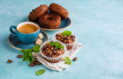 Chocolate Muffins and Coffee Royalty Free Stock Photography