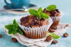 Chocolate Muffins and Coffee Royalty Free Stock Photos