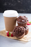 Chocolate muffins with coffee to go Royalty Free Stock Photo
