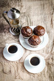 Chocolate muffins and coffee Stock Photography