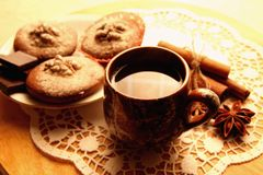 Chocolate muffins and a cup of coffee Stock Photography