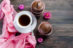 Chocolate muffins and a cup of coffee Stock Photo