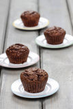 Chocolate muffins before decorating Royalty Free Stock Images