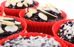 Chocolate muffins with desiccated coconut and sliced almonds Royalty Free Stock Image