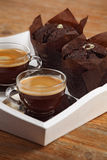 Chocolate muffins and espresso Royalty Free Stock Images