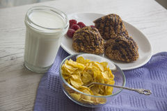 Chocolate muffins and flakes Royalty Free Stock Image